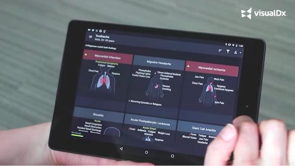 미국의 대형 종합병원과 사설클리닉에서 자체 개발한 의사용 진단 앱. 이들 다수 앱들 간의 정보 호환성이 문제로 대두되고 있다. Image: visualDx mobile app