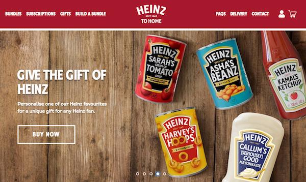 크라프트 하인즈의 자체 D2C 플랫폼 영국 시장용 '하인즈 투 홈' 사이트. 번들포장, 선물용, 구독제로 유통업체의 개입 없이 소비자에게 직접 판매한다. Courtesy: Heinz, UK