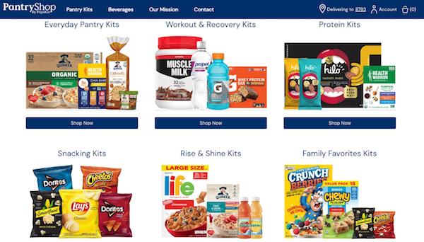 펩시 사의 '팬트리숍바이펩시(PantryShop By Pepsi)' D2C 이커머스 사이트는 펩시에서 생상되는 모든 음료와 포장식품 제품을 판매한다. Image: PantryShopByPepsi.com