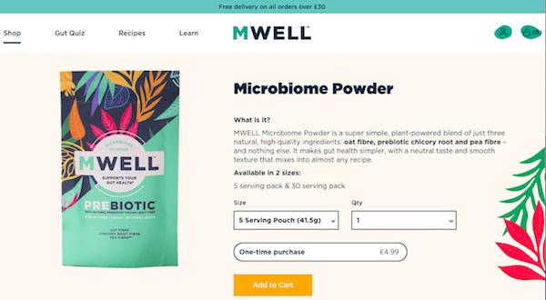 엠웰 식물성 장건강 유산균 파우더. Image: MWELL.com
